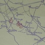 Выкопировка из карты с отмеченными воинскими захоронениями у д. Дворец